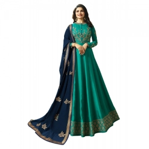 Generic Green Georgette Embroidered Semi-Stitched Gown