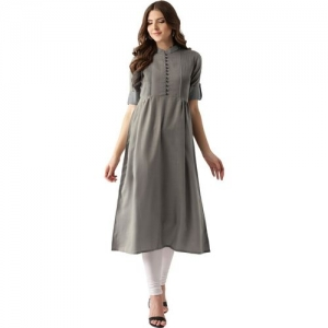 Libas Women Solid Anarkali Kurta(Grey)