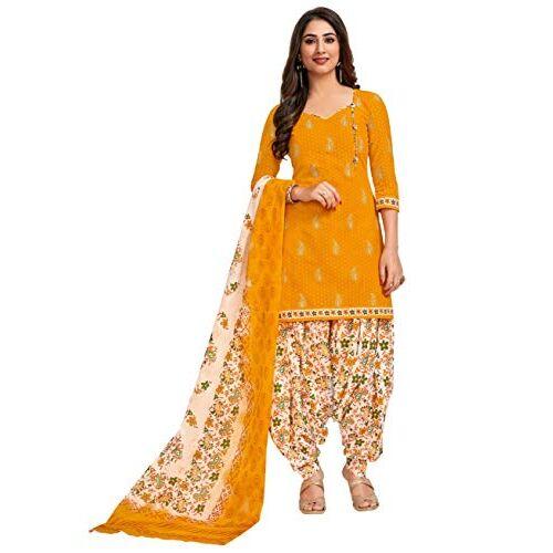 Miraan Cotton Printed Readymade Salwar Suit For Women(MIRAANSG118, Yellow)