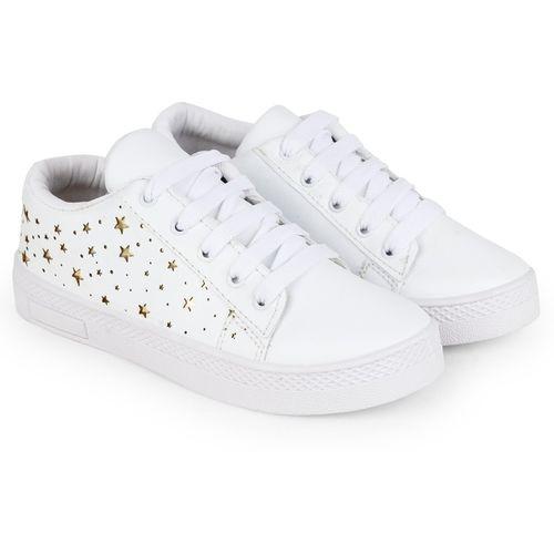 Longwalk Girls Stylish Cut Work Design Sneakers For Women(White)