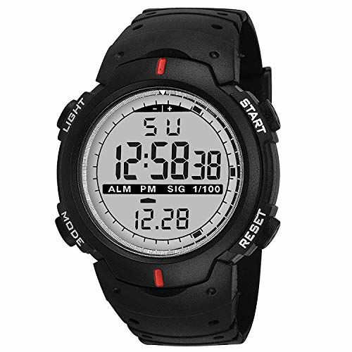 TIMESOON Digital Men's & Boys' Watch (Multicolour Dial Black Colored Strap)