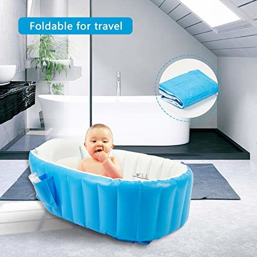 evrum Baby Inflatable Bathtub, Goodking Portable Infant Toddler Bathing Tub Non Slip Travel Bathtub Mini Air Swimming Pool Kids Thick Foldable Shower Basin with