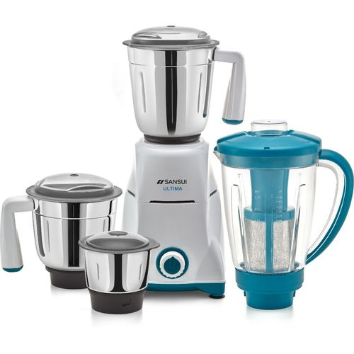 Sansui ProHome Ultima 750 W Juicer Mixer Grinder(White and Blue, 4 Jars)