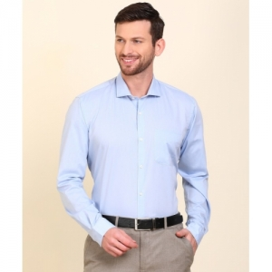 Peter England Light Blue Cotton Solid Formal Shirt