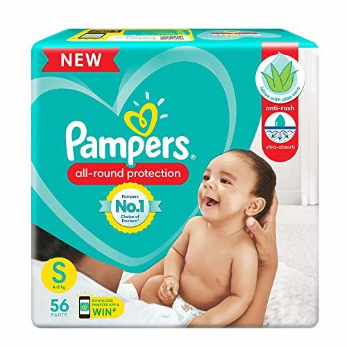 Pampers All round Protection Pants, Small size baby diapers (SM), 56 Count, Anti Rash diapers, Lotion with Aloe Vera