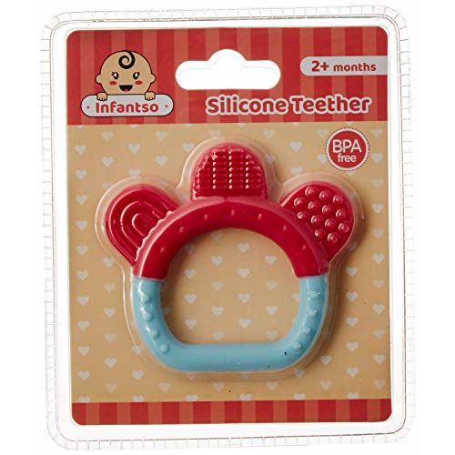 INFANTSO Ring Shape Non-Toxic Food-Grade Silicone Baby Teether, BPA-Free for Pain Relief Easy Teething (Pink/Blue)