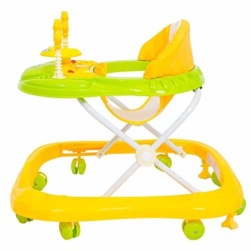 Baybee Smart Witty Baby Walker | Music & Light Function, Easy to Fold, Fun Toys & Activities for Baby (Yellow)