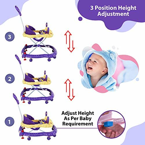 Luvlap Sunshine Baby Walker, Height Adjustable with Light & Music Toys, 6m+ (Purple)