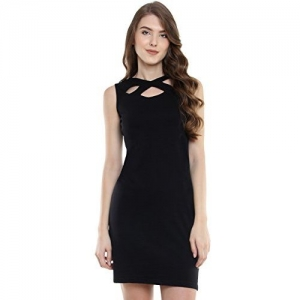 Miss Chase Women's Super Soft Sleeveless Solid Mini Bodycon Boat Neck Dress | 3 Colors (MCS17D09-33-62-02, Black, X-Small)