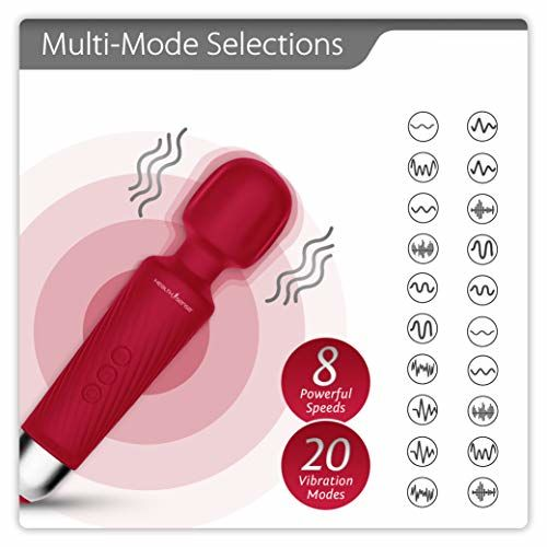 HealthSense Magic-Vibe HM 260 Cordless Handheld Personal Body Massager for Pain Relief & Rechargeable Vibration Machine with 8 Speeds, 20 Modes & 1 Year Warranty (Cherry)