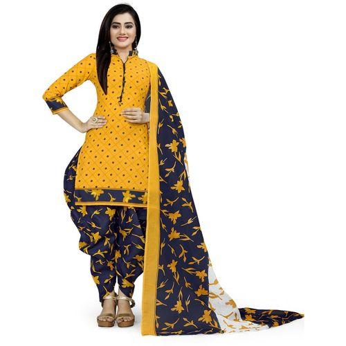 Rajnandini  Yellow & Blue Cotton Unstitched Salwar Suit