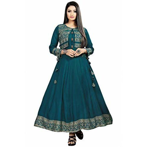 Divine International Trading Co Women's Jacket Style Rayon Anarkali Kurta