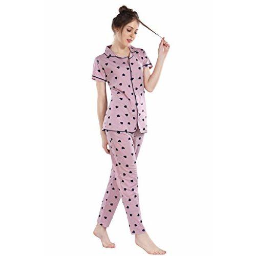 Fashigo Women's Cotton Night Suit (Heart Printed Shirt & Pyjama Set) Light Pink