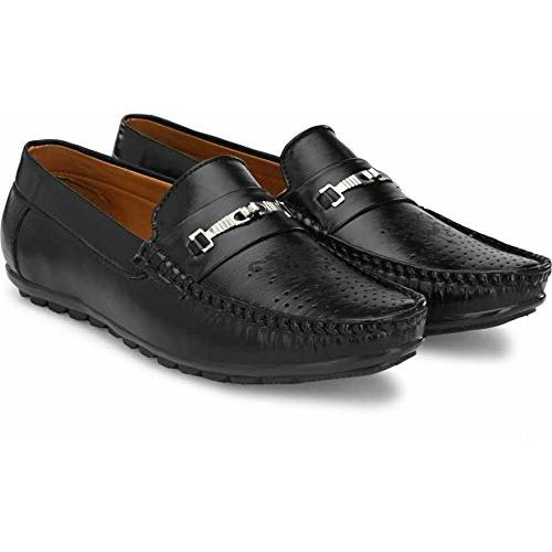 T-Rock Black Synthetic Slip-On Casual Loafers