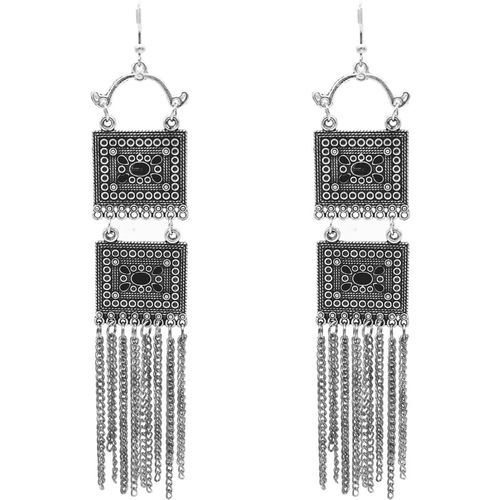 steeplook Tribal Collection - Oxidised Silver Earrings In Square Shape - Elegant & Bold Party Wear Earrings for Women and Girl Alloy Drops & Danglers
