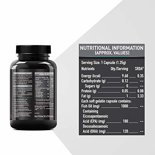 MuscleBlaze Omega 3 Fish Oil 1000 mg (180mg EPA and 120mg DHA) (60 Capsules)