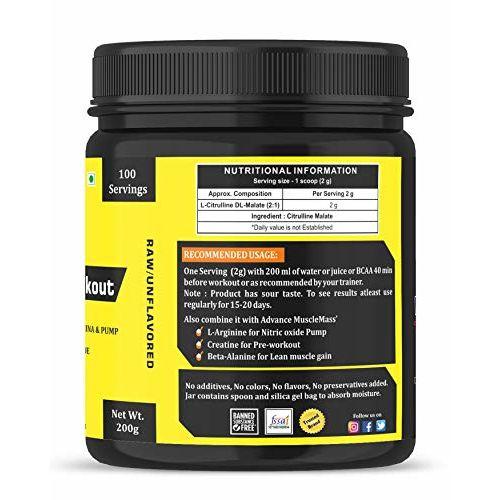 Advance MuscleMass Citrulline Malate 2:1   Pure/Unflavoured   Preworkout Supplement  200 gm / 0.44 lbs