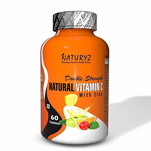 Naturyz Double Strength Natural Vitamin C & Zinc Supplement with Amla, Acerola Cherry, Citrus Bioflavonoids rich in Antioxidants for Immunity Support & Skincare