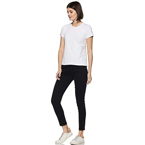 Amazon Brand - Symbol White Black Cotton Regular Fit T-Shirt