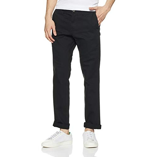 Amazon Brand - Symbol Black Cotton Solid Chinos Casual Pants