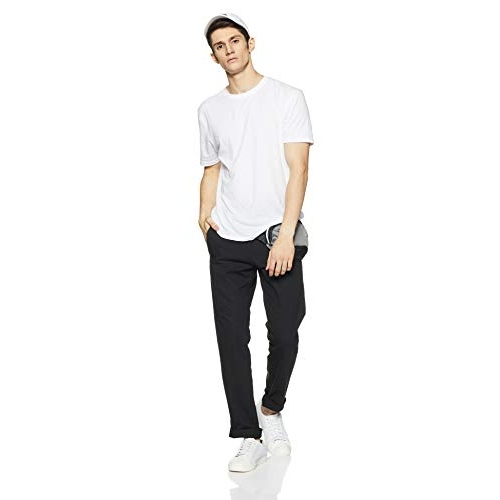 Amazon Brand - Symbol Black Cotton Solid Chinos Casual Pants