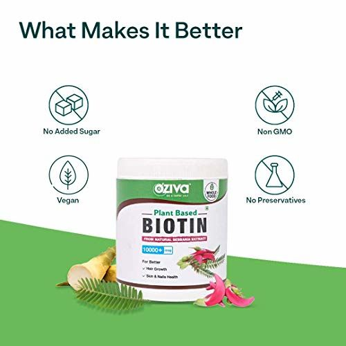 OZiva Plant Based Biotin 10000+ mcg (with Sesbania Agati Bamboo Shoot Amla & more)120g