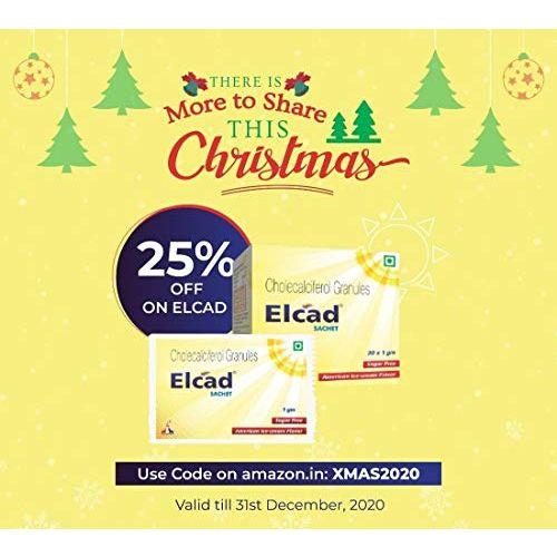 ELCAD Vitamin D3 Cholecalciferol Sachet   60,000 IU   1 gm sachet (Pack of 20s)   Once a week delicious taste supplement   Stevia based Sugar Free   Immunity