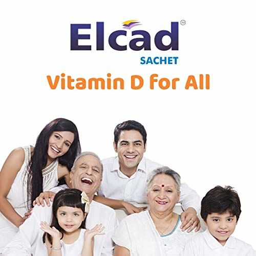ELCAD Vitamin D3 Cholecalciferol Sachet | 60,000 IU | 1 gm sachet (Pack of 20s) | Once a week delicious taste supplement | Stevia based Sugar Free | Immunity