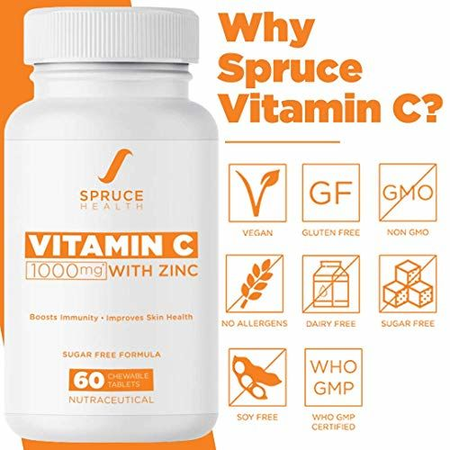 Spruce Health Vitamin C Chewable Tablets with Zinc | 1000mg per serving | Immunity Booster, Anti Oxidant Skin Care | 60 Supplements | Orange Flavor, Vegan and
