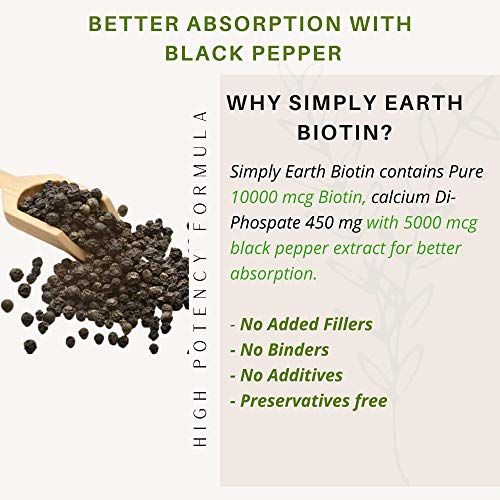 Simply Earth biotin 10,000mcg enhanced absorption with black pepper extract | Maximum Strength for Fast Hair Growth - Naturally Enhance Your Beauty, Skin &
