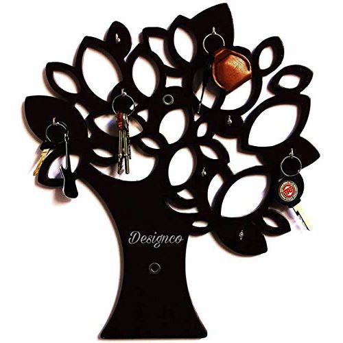 Designco Tree Key Wall Holder | Wooden Key Holder | Decorative Key Hanger (Black)