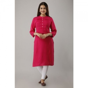 FrionKandy Women Solid Straight Kurta(Pink)