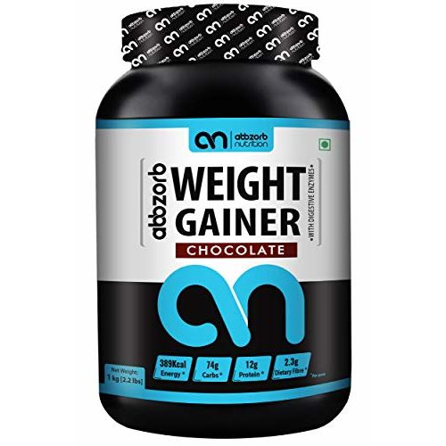 Abbzorb Nutrition Weight Gainer with Vitamins(B,C,D) Minerals (Calcium, Iron, Zinc) | with Digestive Enzymes (Chocolate, 1 Kg)