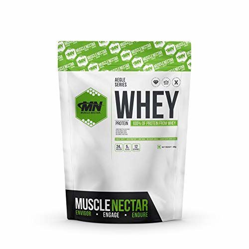 Muscle Nectar MuscleNectar (MN) 100% Whey Protein Powder (Blend of Concentrate & Isolate) with Digestive Enzymes for Men & Women, (Dutch Chocolate, 12 Servings, 400g)