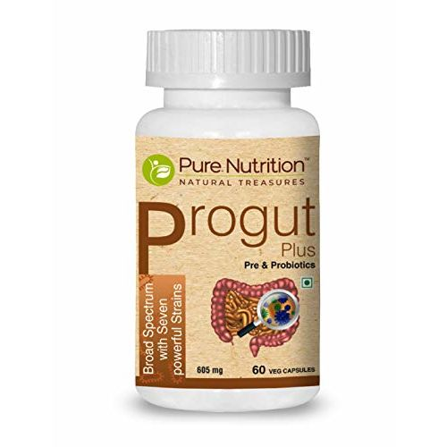 Pure Nutrition Progut Plus, Promote digestive health & Builds Immunity, Seven Powerful Strains, 25 Billion CFUs of naturally fermented probiotics - 60 Veg Capsules
