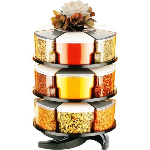 Cronus 360 Revolving Spice Rack Masala Rack Spice Box Masala Box Masala Container Condiment set of 18 18 Piece Spice Set(Plastic)