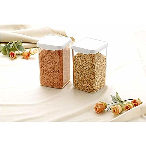 iFLOW Cereal Dispenser Easy Flow Storage Jar 1100 ml, Idle for Kitchen- Storage Box Lid Food Rice Pasta Pulses Container, Square Containers for Kitchen Set of 12