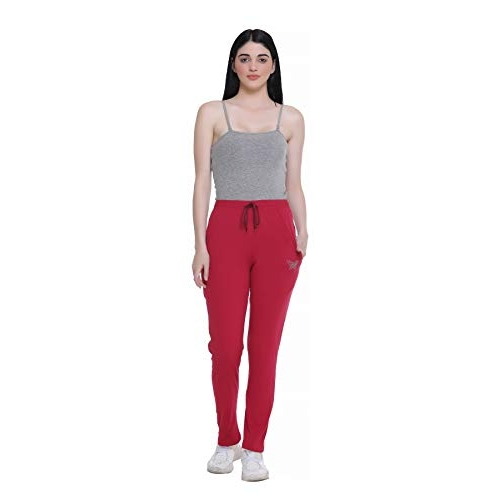 Cupid Red Cotton Plain Track Pant