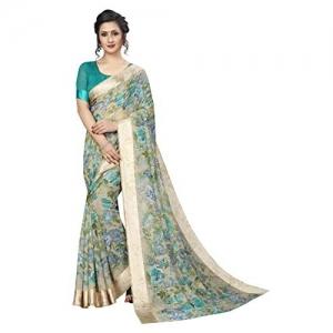 PERFECTBLUE Blue Green Blend Linen Saree