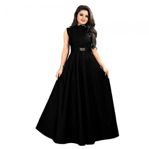Vaidehi Creation Black Silk A-line Waist Belt Gown