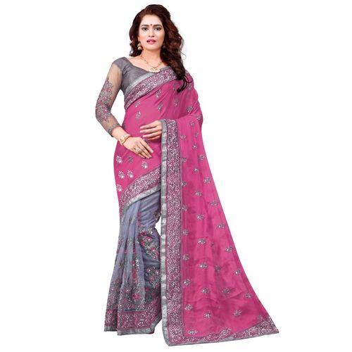 Availkart Embroidered Bollywood Satin Blend, Cotton Blend Saree(Pink)