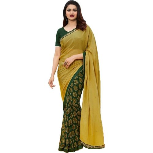 Bombey Velvat Fab Printed, Floral Print, Self Design, Embellished, Geometric Print, Paisley, Applique Daily Wear Poly Georgette, Chiffon Saree(Green, Yellow)
