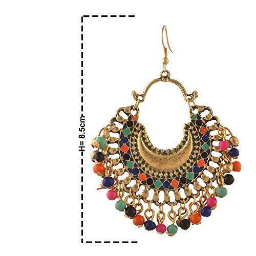 Zukhruf Fashion German Silver Beaded Chandbali Hook Earrings Jewellery for Women (Gold)