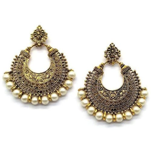Samridhi DC Afghani Tribal Oxidised Dangler Stylish Fancy Party Wear Chandbali Crystal Alloy Chandbali Earring