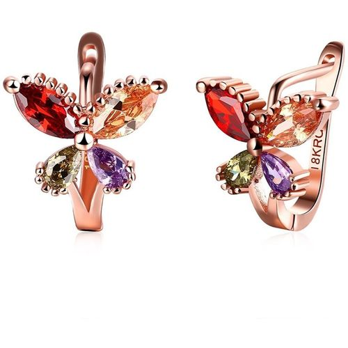 Yellow Chimes Flying Butterfly High Quality 18K Rose Gold Pated Metal Clip-on Earring