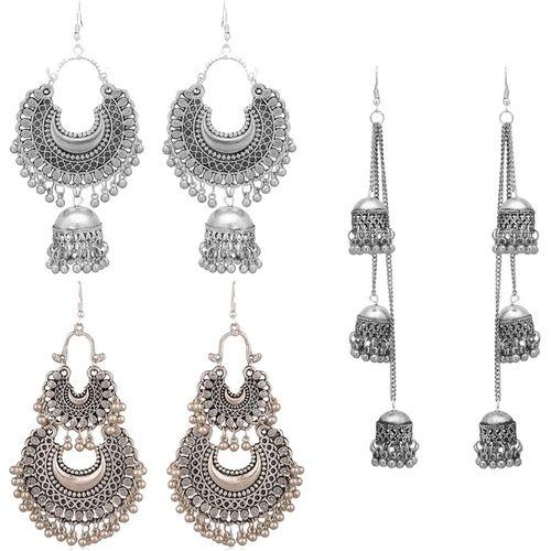 Victoria's Den Combo of 3 Designer Traditional Stylish Earrings for Women and Girls. Alloy Drops & Danglers, Earring Set, Chandbali Earring, Jhumki Earring