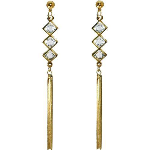 ANISH Golden earrings Diamond earrings long in golden colour for women and girls Crystal Alloy Drops & Danglers