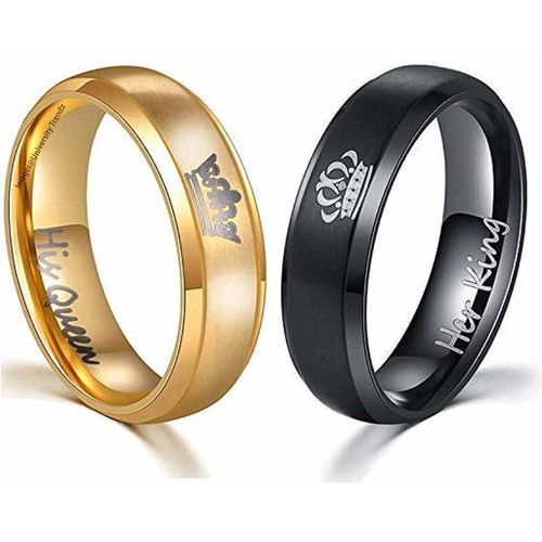 Impression 2Pcs Her King His Queen Titanium Stainless Steel Black & Gold Couple Rings 8 No Gold For Girls And 9 No Black For Boys Stainless Steel Platinum Plated Ring Set