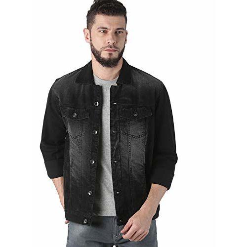 VROJASS Denim Black Full Sleeve Washed Regular Fit Jacket