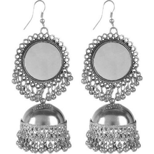 PRASUB brings you designer and trendy Silver Mirror Jhumki earrings Girls and Women Sterling Silver Jhumki Earring